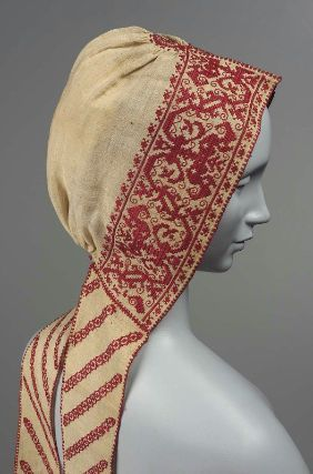 Woman's Coif with Pointed Lappets19th Century ItalyEmbroidered Cloth