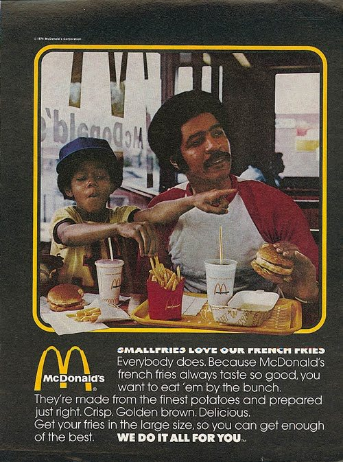 """Yo, Dad! Check out The Hamburgler's dick!""  ::steals McDonalds Fries:: ""PSYCHE, BITCH!"" (Also this kid is a brat because he clearly has his own uneaten fries sitting right in front of him.)"