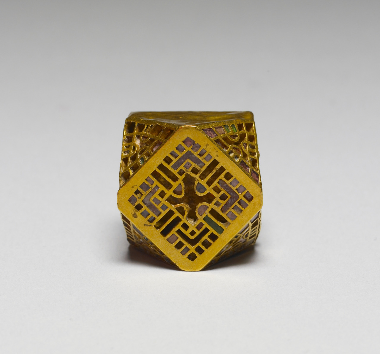 late 5th-early 6th century (Early Medieval) This ornament may have formed part of an earring or necklace. The polyhedral shape was a favorite among the Ostrogoths.