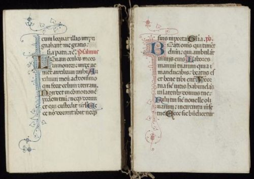 Book of Hours (Hours of the Virgin, Use of Rome)1400-50 ItalyTempera, ink, and gold on parchmentBindings of orange silk brocade over wooden boards,With leather bands and metal clasps