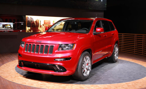 Best handling Jeep ever The 420-bhp 6.1-liter V-8 is gone, replaced by a larger and more  powerful 465-bhp 6.4-liter Hemi V-8. There is permanent 4-wheel drive  (Quadra-Trac, in Jeep speak), a 5-speed automatic, and a tow rating of  5000 lb. If you're really in a hurry while trailering those jet skis, Jeep  says the 2012 Grand Cherokee SRT8 pulls 0.90g on the skidpad.