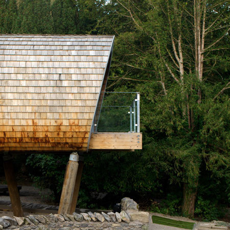 Designer Robert Gaukroger has completed three wooden classrooms on stilts in a forest clearing in the Lake District, UK Imagine how awesome it would have been to have gone to school in treehouses?