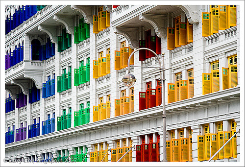"""MICA Building, Singapore (formerly known as the Old Hill Street Police Station) was built in 1934 to house the Hill Street Police Station and Barracks. When it was completed in 1934, this 6-storey building was considered to be a skyscraper as it was then the tallest building in Singapore. This building has 911 windows. It was gazetted as a national monument in 1998 and transformed into comfortable and lively premises for the Singapore Ministry of Information, Communication and the Arts."" sixohthree:  Windows (by ShutterBugL)"