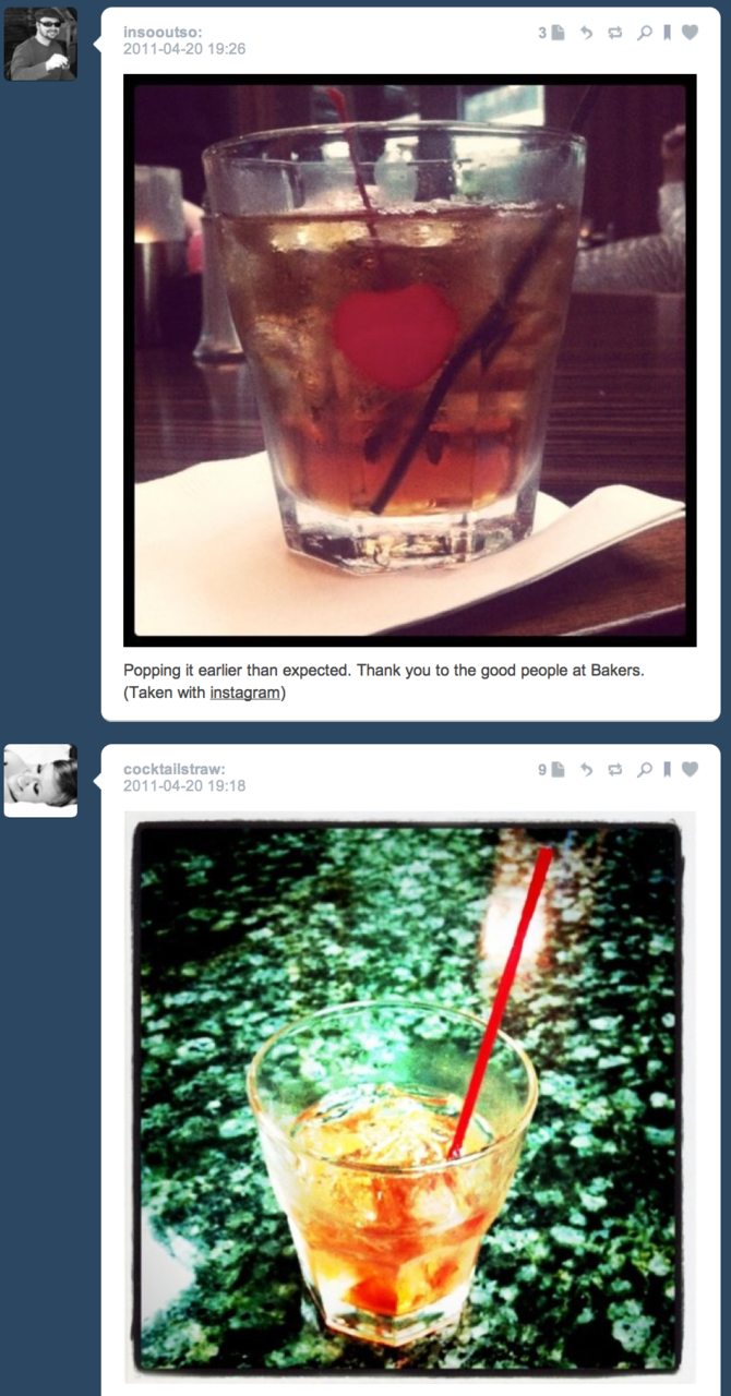 Tumblrchronicity Damn, I'm thirsty. (Although, it's not that much of a surprise, considering one is drinking in his avatar, and the other's screen name has a drink in it.)