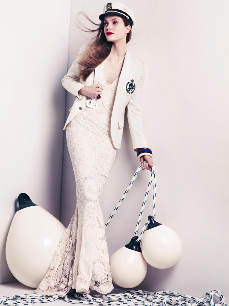Preppy nautical mermaid! I love it! Mirte Maas for Vogue Japan.
