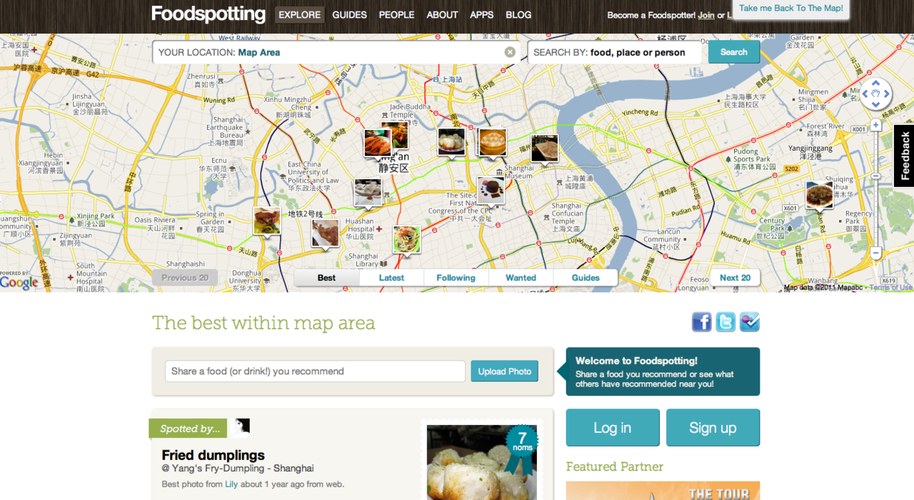 Food Spotting : A visual guide to good food and where to find it. Food Spotting, one of the hottes start-ups on the internet, began in 2009 when cofounders Alexa Andrzejewski (Adaptive Path), Ted Grubb (Get Satisfaction) and Soraya Darabi (New York Times) realized that while there were many restaurant review apps, there was no easy way to find or rate specific dishes. Once you log in, you can upload a photo of you're favourite meal at any location in the world, and tag it relating to the address of where you had this meal/drink, and share it with everyone. You can also SEARCH by location and food if you're not looking to upload anything, and just want to find a good place to eat/drink, in your vicinity. In this screen shot here, I typed in 'Shanghai' and found lots of local places (that I know are real because I've been there too) where people have tagged their pictures, and others have rated the establishment too.  Read more about Food Spotting here, and download the Food Spotting app (Free) for iPod, iPhone & iPad.  via Portable.