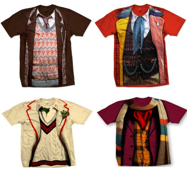 tardisadventures:  4th, 5th, 6th, 7th Doctor's outfit tees available at Forbidden Planet exclusively!