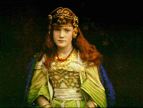 Autochrome. Seated girl in fancy dress. Audrey Green, Queen of Sheba. Taken by S. Pegler in November 1913  via Bassetlaw Museum