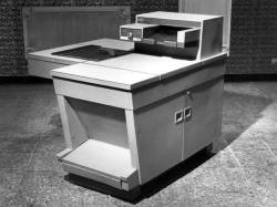 "ryanlintelman:  History fact of the day:  Behold, 1959's groundbreaking Xerox 914, the first successful  plain-paper photocopier, weighing in at 648 lbs, making a whopping 136  copies/hour. Much beloved for its propensity to burst into flame while  operating, an occasion considered so normal by the manufacturer that  they shipped it with a small fire-extinguisher, euphemistically called a  ""scorch guard.  Via BoingBoing, but also via the heavy-drinking Xerox executives who told me this same story during their corporate party at the museum last year to celebrate the 914's 50th anniversary. I was there to show off the machine that the company gave to the Photo History Collection when it was finally replaced in some office after 25 years of faithful service. 25 years of potential fireball service."