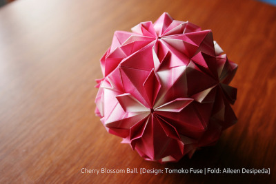 Cherry Blossom Ball on Flickr.Via Flickr: Design: Tomoko Fuse Fold: Aileen Desipeda Video tutorial can be found here: www.youtube.com/watch?v=8Kr0Og_HR7Q A year ago when I was just starting to do origami, I tried to make this model.  After folding 30 units, I couldn't put them together.  So I ended up scrapping all of that paper >_< 6 months after, I went back to the tutorial, and was successful ^_^  Back then I used 6x6 inch regular kami, but now I am able put it together using 3x3 inch kami :)  Now it's one of my favorite modular origami. :)