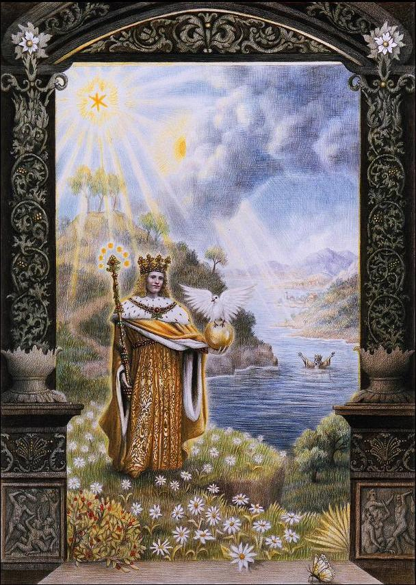 Laurie Lipton. Splendor Solis: The Rising King, 1989. Color pencil on paper.