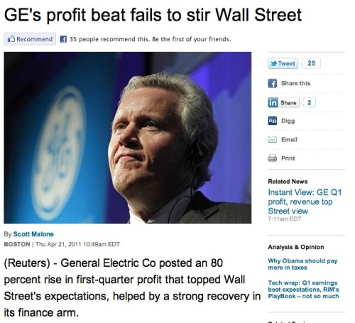 General Electric's impressive profits not impressive enough: Because really, nobody gives a crap that your multi-billion-dollar company has a massive jump in profit. You need to do it with style or go home. (Seriously, does anything impress these investors these days? Does GE's CEO have to tell investors of the huge jump in profits while walking on his hands and hula-hooping? Because that wold impress us. But would that impress investors?)