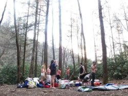 Asheville, NC Hometown backwoods camping. Fantasy kids doing fantasy things