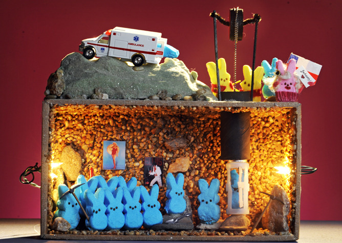 "Meet the winners of our Peeps Diorama Contest 2011's First Place Winner is pictured above: ""Chilean Mine Peeps Rescue,"" by Rande Johnson and Carol Epps. (Photo by Cyrus McCrimmon, The Denver Post)  Peeps diorama makers looked to the news,  politics and pop culture for inspiration in our Fourth Annual Peeps  Diorama Contest. Judges ""ewed"" at the sugared versions of Charlie Sheen  and his tarts, and ""awed"" at the many Justin Peepers with their shaggy  moptops. In all, we had more than 150 entries."