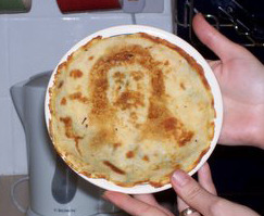 10 Best Sightings of Jesus in Food Easter Sunday, the day Christians celebrate the resurrection of Jesus Christ, is right around the corner. Along with the holy hoopla is the grub. And though Captain Miracle's mug may not make an appearance at this year's traditional Easter dinner in a slice of ham, deviled egg, or Peep, he has shown up in foodstuffs of former days.