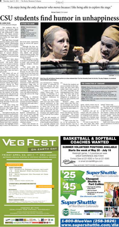 Thursday, April 21, 2011. The Rocky       Mountain Collegian main verve. The Verve section runs      weekly Thursdays. Page designed by Chief Designer Greg Mees.  Today's Verve: Students find humor in unhappiness