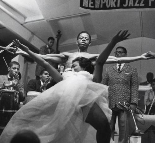theniftyfifties:  Eartha Kitt and Dizzy Gillespie at the Newport Jazz Festival, 1954.