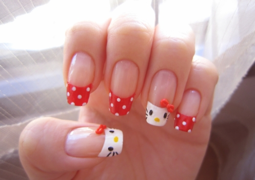 minnie meets hello kitty nails