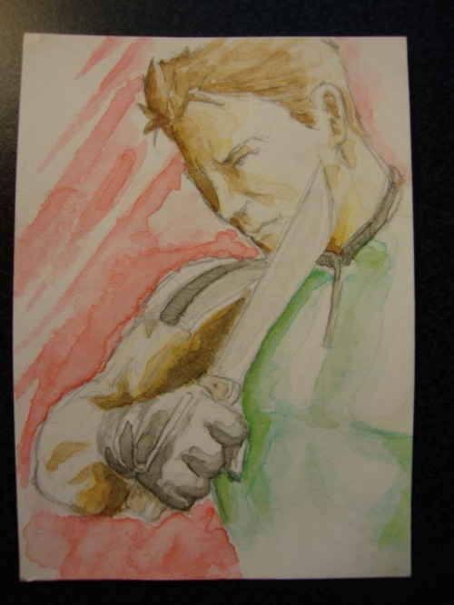Chris Redfield 2x3 inch watercolor card Selling a bunch of different character cards at the Boston Comic Con