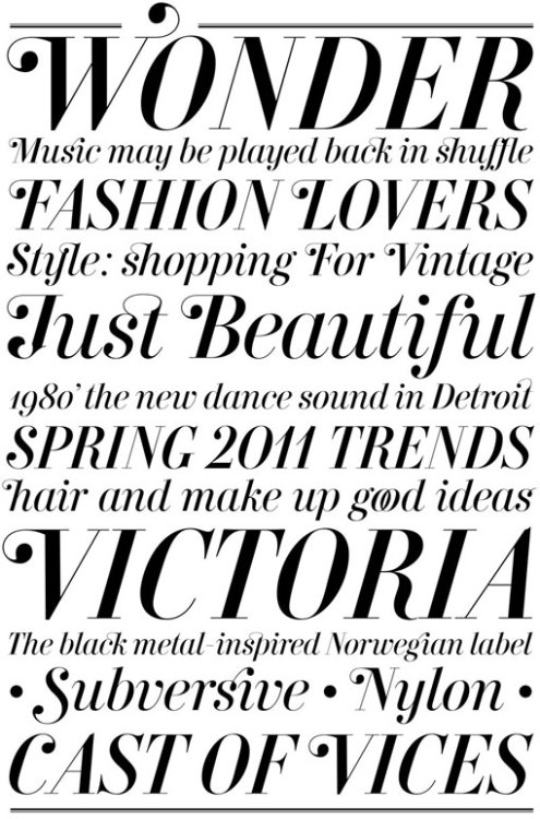 weandthecolor:  Victoria's Secret A cus­tom dis­play typeface by Andreu Balius. More typography inspiration. __posted by weandthecolor // facebook // twitter
