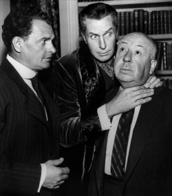 James Gregory, Alfred Hitchcock and Vincent Price