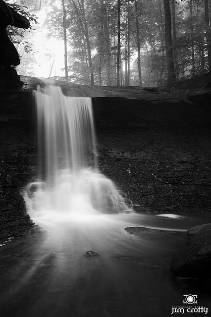 "Blue Hen Falls at CVNP by Jim Crotty Black and White on Flickr.Pouring forth. ""Behold, I make all things new again."""