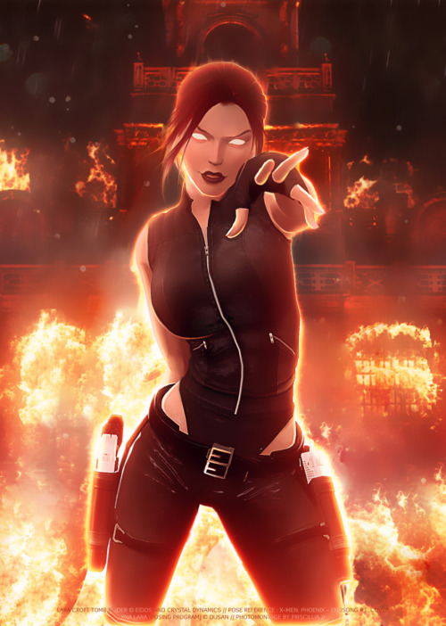Double awesome for Tomb Raider and Phoenix fans! Doppleganger as Dark Phoenix by *Priscillia