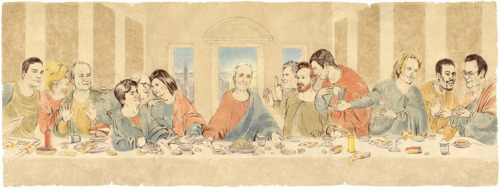 SNL LAST SUPPER by Edel Rodriguez From left to right: Jimmy Fallon, Amy Poehler, Bill Murray, Mike Myers,  Chevy Chase, Tina Fey, Lorne Michaels, Will Ferrell, Conan O'Brien, Adam  Sandler, David Spade, Chris Rock, Dan Aykroyd.