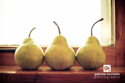 My three pears. Deliciously photographic. and even more pears here….