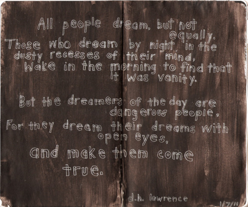dancingraphics:  dreams, d.h. lawrence (for the sketchbook project 2011) by me