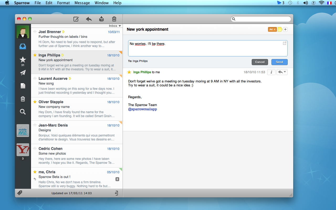 Sparrow is a mail client for OS X 10.5 that contains some of the best features of Gmail but with a great UI. Sparrow's highlights are threaded conversations, Gmail labels, quick reply, and Growl notifications. Sparrow looks a lot like the iPad's mail app and Mail 5 to be released in Mac OS X Lion. Be sure to check out Sparrow Tips to see everything in action.