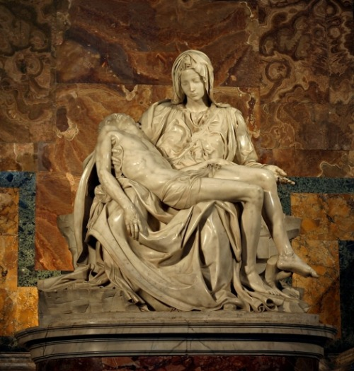 The Pietá, St. Peter's BasilicaMichelangelo's beautiful Pietá, located immediately to the right of the  entrance in the Chapel of the Pieta. The sculpture depicts the Virgin  Mary cradling the dead Jesus in her lap after the crucifixion, and was  completed in 1499, when Michelangelo was just 24. After it was  vandalized with an axe in 1972, the sculpture was placed behind  protective glass.Photo Stanislav Traykov