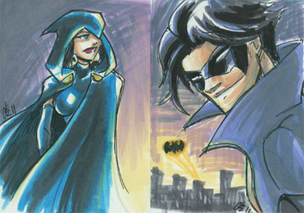 Raven & Nightwing, a couple of quick $10 sketchcards, both still currently available.