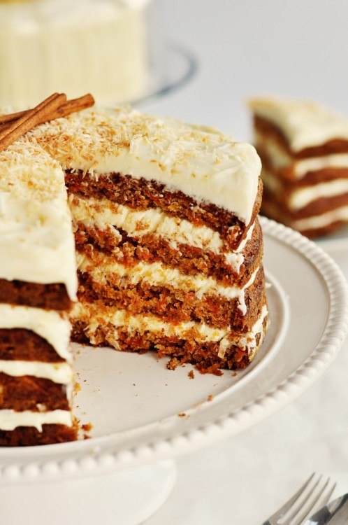 foodwhore:  Hawaiian Carrot Cake with Coconut Icing