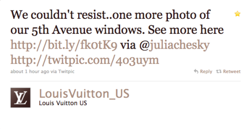Another lovely [and unexpected] shout out from Vuitton. If you haven't seen the windows yet, flock to them now.