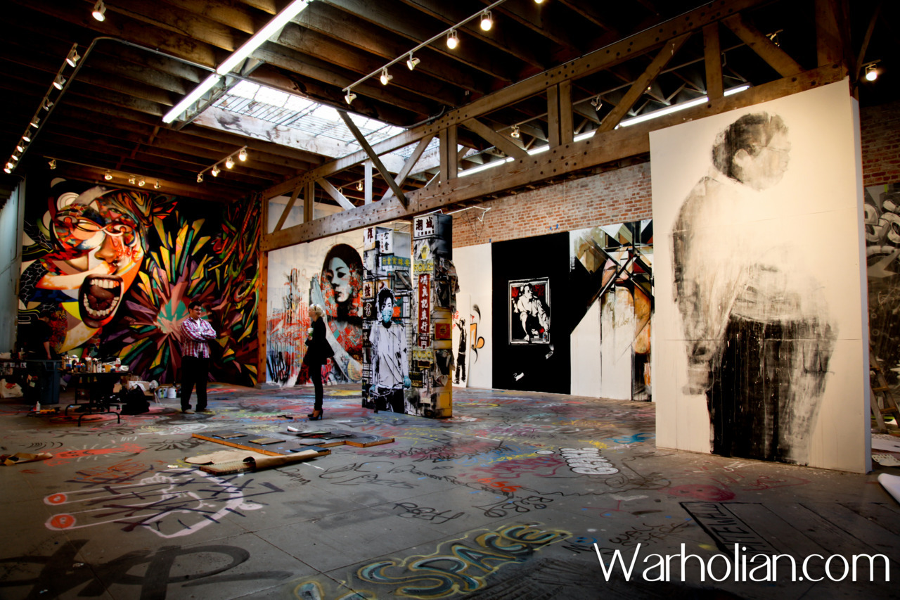 See more pictures here:  http://warholian.com/2011/04/21/the-indoor-mural-project/ Another exclusive preview shot from within The Indoor Mural Project: A Living Survey of Street Art show on Warholian. Be sure to check out some of the amazing work from this show, and do miss the party this Saturday (tomorrow!) at 941 Geary Gallery in San Francisco!