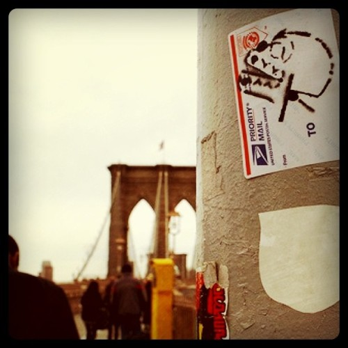 This sticker is all over the #Brooklyn #Bridge (Taken with Instagram at Brooklyn Bridge)