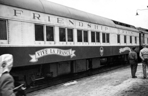 Friendship train - 1947 After World War II came to a close, the country of France began the task of rebuilding a nation ravaged by war.  Years of German occupation had left the French people in great need of life's everyday necessities.  In his daily column, the Merry-go-round, noted Washington newspaperman Drew Pearson suggested that America come to the aid of its European friend.  Inspired by Pearson's idea of a Friendship Train, newspapers all across the country joined in the effort and over forty million dollars worth of supplies were collected to send to France.  Seven hundred boxcars of food, fuel, medicine, and clothing left on a ship from New York City and arrived in France on December 18, 1947.