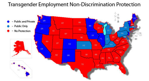 motherjones:   Map: Transgender Employment Rights MJ intern Gavin Aronsen reports: A landmark survey of 6,450 trans and gender non-conforming people released in February by the National Gay and Lesbian Task Force revealed some disturbing numbers: Ninety percent of responders reported facing discrimination at work. Unemployment rates were double the national average. More than a quarter said they had been fired due to their gender identity. Those who had lost their jobs were four times as likely to be homeless and 70 percent more likely to abuse drugs and alcohol. And, perhaps most remarkably (and most related to Monday's post), a full 41 percent of responders admitted to having attempted suicide.  Employment discrimination can also make it more difficult for trans* individuals to access health insurance and care, which can compound issues such as depression and substance use.