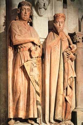 Ekkehard and Uta, Naumberg Cathedral, Germany 1249. Done for a fund raising activity. Bodies revealed beneath drapery. Realistic looking faces, personality. Paint still remains.
