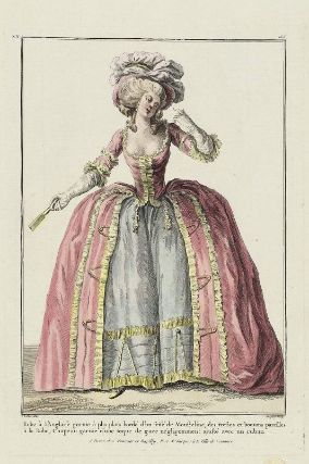 "Gallerie des Modes, 1784.  ""Robe a l'anglaise…"" Oh, I luuuuurve the trim on this gown!"