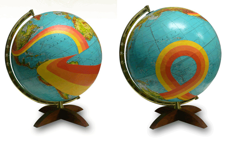 fauxxe:  Wendy Gold uses vintage (no longer geographically accurate) globes and transforms them into beautifully handmade works of art. You can even have a custom one made, like the family tree below.