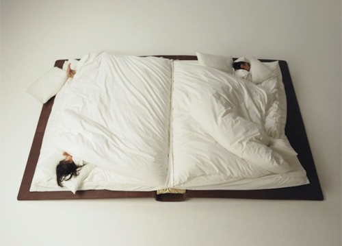 bookshelfporn:  Book Bed Photographer Yusuke Suzuki created a book bed that folds up during the day which then unfolds into an over-sized book at night.  Dope