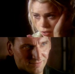 "The Doctor - ""Just tell me you're sorry…"" Rose - ""I am. I'm sorry."""