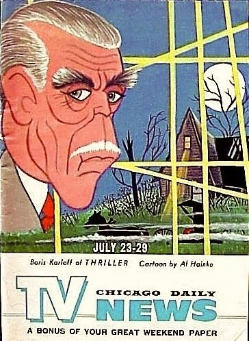 Boris Karloff of Thriller on the cover to the TV section of the Chicago Daily News