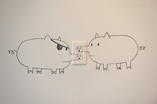 laughingsquid:  Snoutlet, The Pigs Behind Electrical Outlets