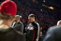 "Brandon Roy awaits pregame introductions before Game 3 at the Rose Garden.  (Thomas Boyd, The Oregonian) A beautiful and dramatic shot which would be an omen for, the instant classic, Game 4. The light shined on B-Roy, who crafted an NBA Playoffs comeback for the ages.  (Photo by Bruce Ely) Uncle Cam embraces B-Roy and shows him some love after the epic comeback. The rumors concerning Brandon Roy's demise have been greatly exaggerated. How you like dem apples, Baby? Real ballers will never die.  Jason Quick with his brilliant ongoing chronicle, Behind the Locker Room Door, on Brandon Roy after Game 3. A piece that would prove to be prophetic. CP3 is a fan of Brandon Roy Sekou Smith Skip Bayless J.A. Adande Rich Cho via Blazersedge Nicolas Batum via Blazersedge Elizabeth Banks?! She happens to be married to a Portlander, who is a big time Blazers fan. Paul Allen MAR-CUS CAM-BY clap-clap clap-clap-clap Blazers' high resolution photographs from the game Brian Wheeler with the effervescent call at the end Locker Room Talk ""I've been in some pretty good zones before, but       none like tonight…"" Dre Miller aka ""Richard Pryor Love Child"" says, ""Hallelujah!""  This miraculous 3+1 play (in my opinion, a touch foul, which was a controversial call) was a key ingredient to the monumental and historic Easter Weekend Comeback. I am curious as to how Dallas will respond and regroup. How will Brandon Roy and his teammates sustain momentum and possibly top this game? Interesting stuff here. Layers upon layers of stories. The gigantic collapse by the Mavericks and their well documented history of choking and early playoff exits. Brandon Roy being in near tears after the Game 2 loss, receiving garbage minutes (I am ashamed to admit that at one point during Game 2, my Facebook Status Update read, ""Jesus Christ, get B-Roy outta there!""). There is the inspirational voicemail message from Chuck before Game 3. The world watching a momentary resurrection of B-Roy, in Game 4, when the Portland Trail Blazers were left for dead after three quarters. More drama than Johnny. I guess this is why we watch sports, eh?"