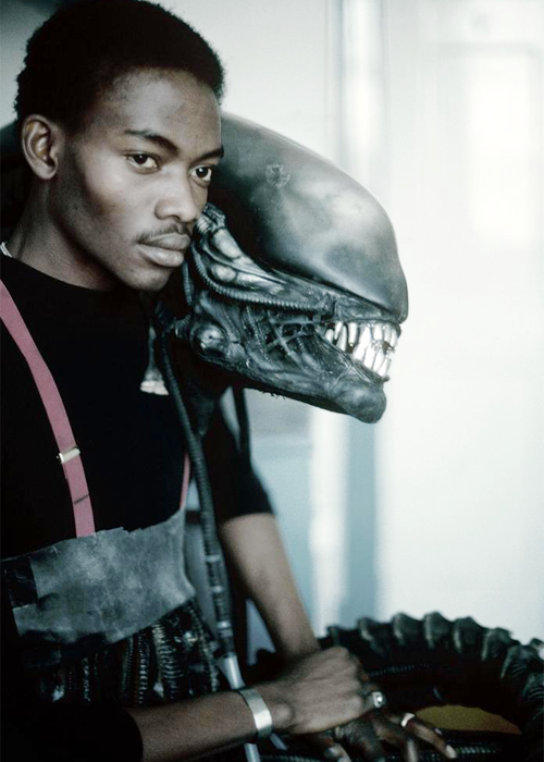 Bolaji Badejo who played the alien creature in the film Alien, England, 1978. Photographed by Eve Arnold.