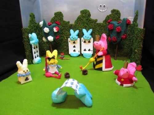 "fuckyeahdioramas:  Easter Peep diorama hollyb-blog:  ""Alice in Peepland"" Happy Easter!"