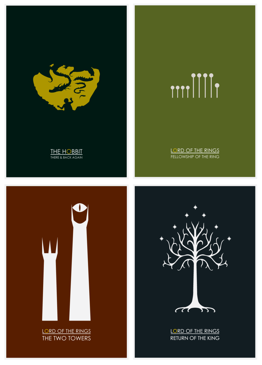 pwnator:  minimalmovieposters:  Minimalist Hobbit & Lord of the Rings Collection by jamesydesign  DAT SECOND POSTER AHAHAHAHAHAHAHA